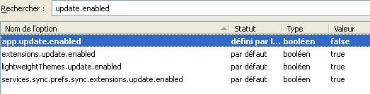 Désactiver la mise à jour des extensions Firefox